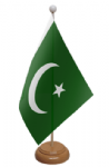 Pakistan Desk / Table Flag with wooden stand and base